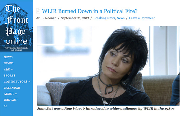 THE FRONT PAGE ONLINE – September 21, 2017 – WLIR Burned Down in a Political Fire?